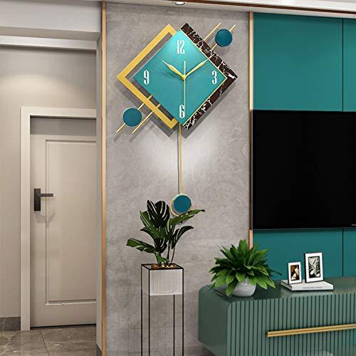 qwqqaq Decorativo Moderno Reloj De Pared De Péndulo,Cuadrado Reloj De Pared con Péndulo para La Sala De Estar,Silencioso Sin Tictac Reloj De Pared-A 55x38cm(22x15inch)