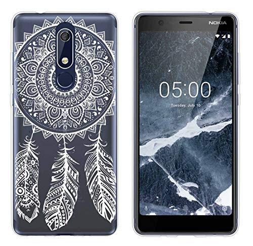 yayago Hülle für Nokia 5.1 Silikon Schutzhülle Hülle Hülle Backcover Tattoo Ornament Spring Design transparent Tasche