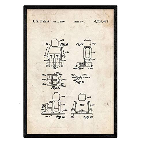 Nacnic Stampa Artistica Vintage Brevetto omino Lego. manifesti con invenzioni e Vecchi brevetti. Stampato su Carta da 250 Grammi di Alta qualità. Figura con sembianze umane Lego.