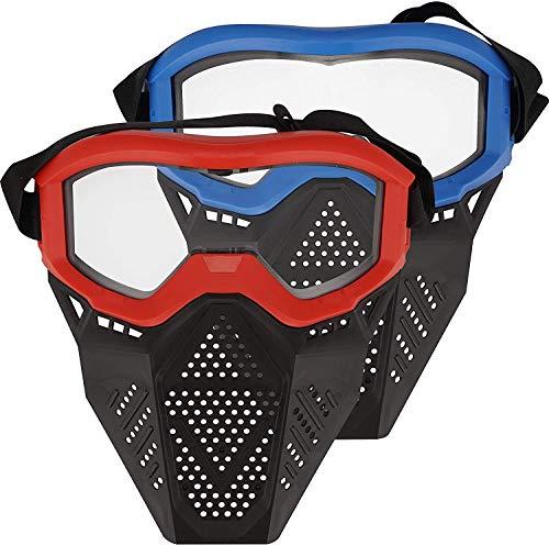 Toyer 2er Pack Gesichtsmaske Taktische Maske Kompatibel mit Nerf Rival, Apollo, Zeus, Khaos, Atlas und Artemis Blasters Rival Mask (Rot & Blau)