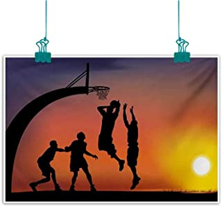 Mdxizc Frameless Decorative Painting Teen Room Boys Playing Basketball at Sunset Horizon Sky with Dramatic Scenery Home and Everything W31 xL24 Dark Coral Black Yellow