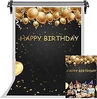 HDお誕生日おめでとう背景黒の背景子供のための黄金の風船の写真の背景誕生日パーティースタジオ小道具10x7ftFSLX038