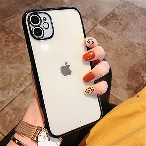Funda de teléfono de Silicona Transparente Cuadrada para iPhone 12 Pro MAX 11 Pro MAX XS MAX XR X 7 8 6 Plus SE 2020 Funda Blanda galvanizada, Negra, para iPhone 12