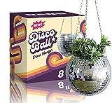 "DADO 8"" Disco Ball Planter - Disco Planter for indoor plants- Disco Ball Plant Hanger - unique plant pots - Boho Disco Ball hanging planter - Planters for indoor plants - hanging pots disco ball decor"