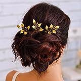 Aukmla - Fermagli con strass per acconciature da sposa, con foglie dorate, accessori per capelli per spose e damigella d'onore, confezione da 3 pezzi