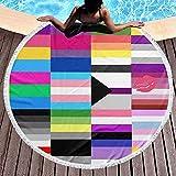 Duanrest Toalla de Playa Manta Lesbianas Gay LGBT Banderas del Orgullo Lanzamiento de Playa con borlas Toallas de Playa Grandes Alfombra de Picnic Alfombra para Adultos 59 Pulgadas