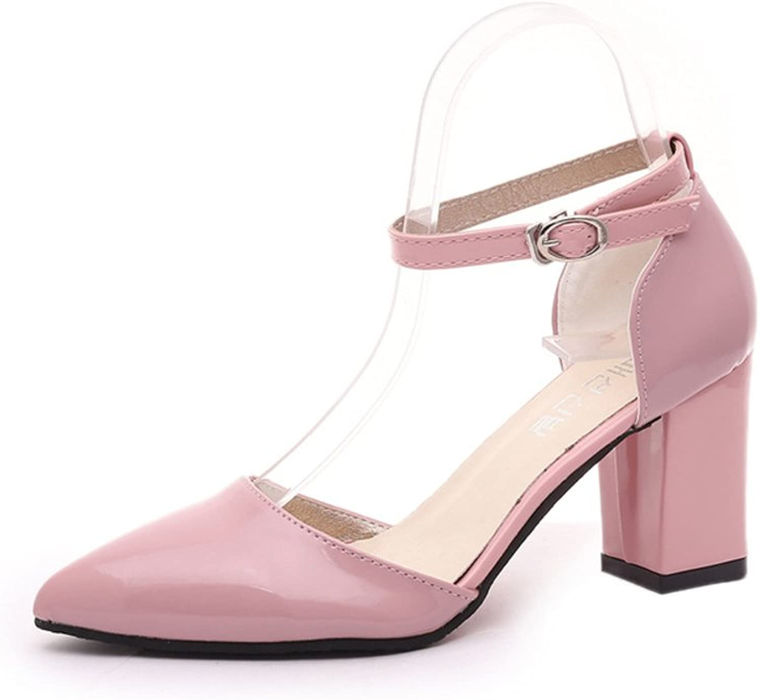 Huhuj Spring and summer wild pointed a buckle with a lateral heel shoes chunky heel sandals