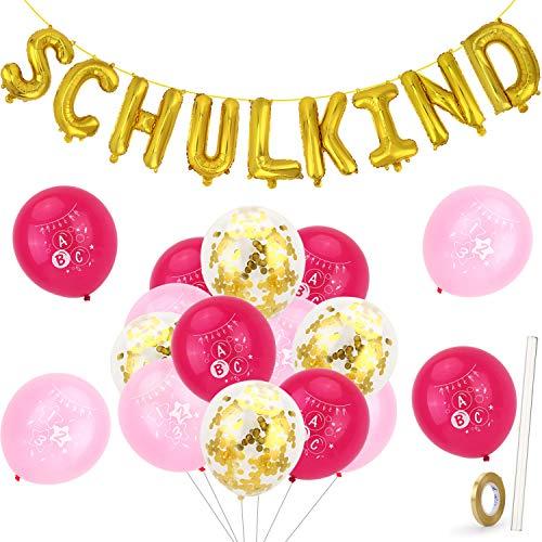 HOWAF Schulkind Folien Luftballon Girlande Banner Hänge Deko und Schulanfang Deko Konfetti Luftballons Set für Schuleinführung Einschulung Schulanfang Schulstart Dekoration Mädchen Jungen