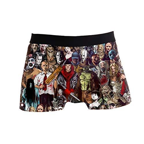 Men's Stretch Underwear Horror Movie Villains Pattern Boxer Briefs Printed Polyester Spandex