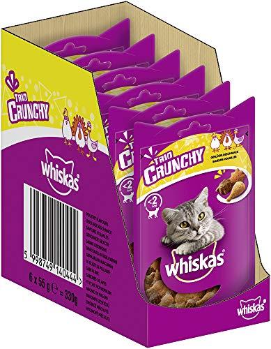 Whiskas Katzensnack Trio Crunchy Treats mit Geflügelgeschmack (Hühnchen, Ente, Pute), 6 Packungen (6 x 55 g)