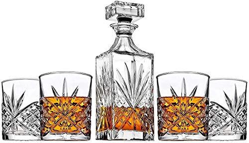 James Scott 5-Piece Irish-Cut Crystal Decanter & Whiskey Glasses Set