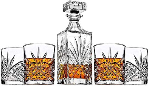 James Scott 5-Piece Irish-Cut Crystal Decanter & Whiskey Glasses Set - for Liquor, Whiskey, Wine and Bourbon - Includes 1 x 24 oz. Decanter with Stopper and 4 x 11 oz. Glasses | Beautiful Gift Box