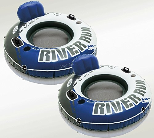 Intex River Run Inflatable Floating Tube Water Raft for Lake River Pool 2 Pack