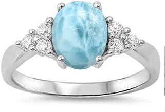 High Polished .925 Sterling Silver Larimar Stunning 12X10 Corona Ring