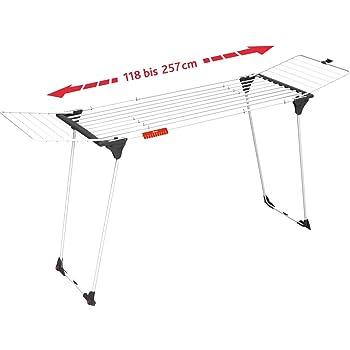 Vileda 157231 Infinity - Tendedero Extensible de acero, espacio total de tendido de 27 metros, soporte para artículos pequeños, dimensiones abierto 186 - 257 x 57 x 100 cm, color blanco
