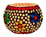 Dlite Decors Mosaic Glass Candle Holder Set of Two for Home Decoration Part and Event Decor and Also Nice to Gift