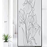 Iris Flower Pattern Window Film,Monochromatic Hand Drawn Style Uncolored Design of Flourish Petals Stained Glass Window Film,Window Privacy Film Removable,35.4' x 78.7' Charcoal Grey and White