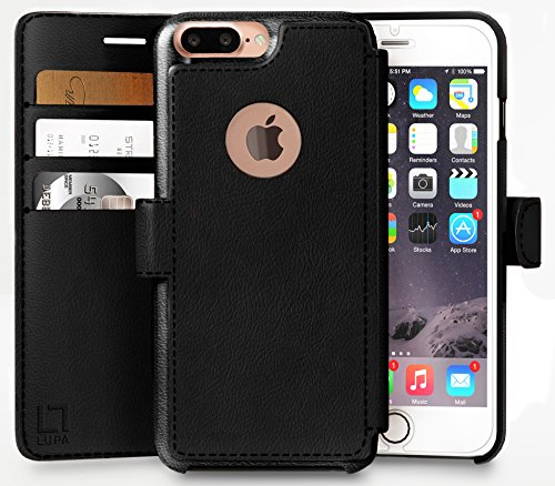 LUPA Wallet case for iPhone 8 Plus, Durable and Slim, Lightweight with Classic Design & Ultra-Strong Magnetic Closure, Faux Leather, Black, Apple 8 Plus