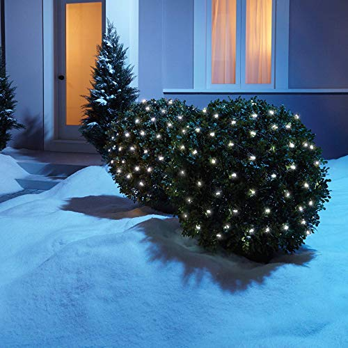 NOMA LED Net Christmas Lights | 100-Count Mini Lights | 4 ft x 4 ft Mesh | Outdoor/Indoor | Perfect for Bushes or Trees | Clear Pure White
