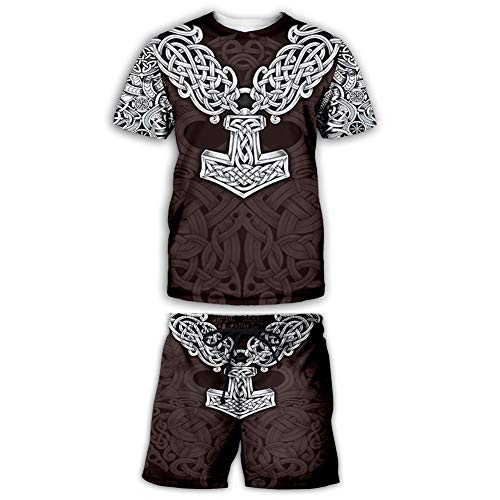 NICEWL Ensembles de T-Shirt Et de Shorts pour Hommes Viking Imprimés en 3D,Mythologie Nordique Faite À La Main,Marteau de Thor Unisexe,E,3XL