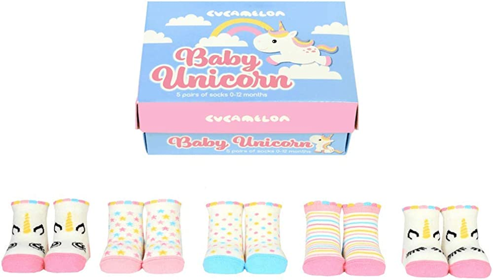 Cucamelon Baby Unicorn 5 Pairs of Socks 0-12 Months Giftboxed