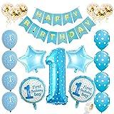 Juland Kit de Decoraciones para niño de 1er cumpleaños Suministros Primera Fiesta Azul -...