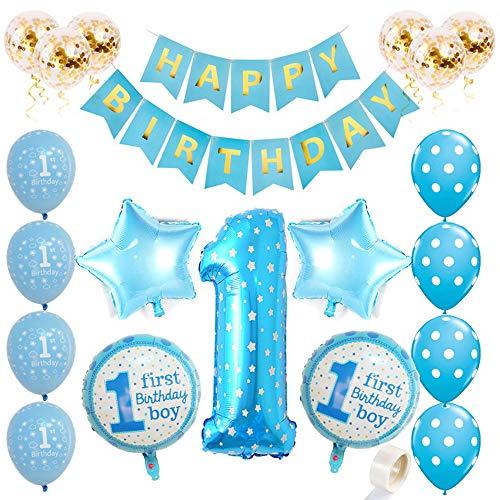 Juland 1. Geburtstag Dekorationen für Jungen Aufpumpen Helium Folienballons Dekoration Blau Happy Birthday Banner Baby Party Luftballons Alles Gute zum Geburtstag Ballons Konfetti Latex Luftballons