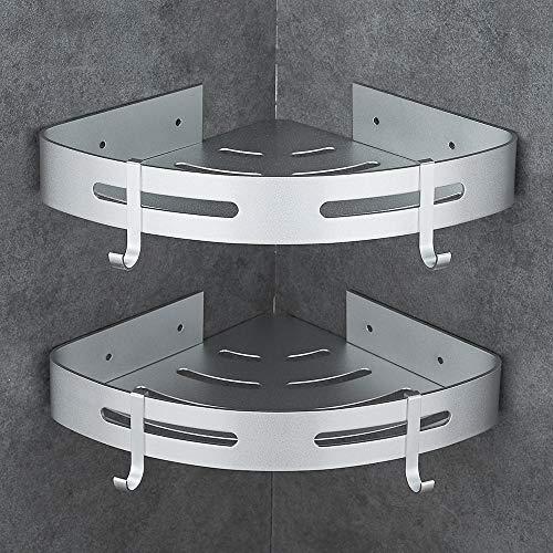 Hoomtaook Portasapone Doccia Mensola da Doccia da Angolo, Alluminio Spaziale Mensola Per Doccia Nessuna Foratura Autoadesivo Montato A Muro 2 Pezzi Ar