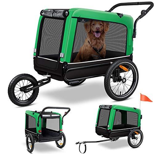 KESSER® Boxer 3-in-1 Hundeanhänger, Hundebuggy & Jogger Fahrradanhänger groß ca. 240 Liter Volumen, gefedert, Material: 600D Oxford Canvas, SmartSpace Concept, maximale Belastbarkeit: 40 kg, Grün
