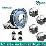 RA24 Kit Cerchi in Ferro per Fiat 500 d'Epoca da 12' Coppe cromate Bulloni