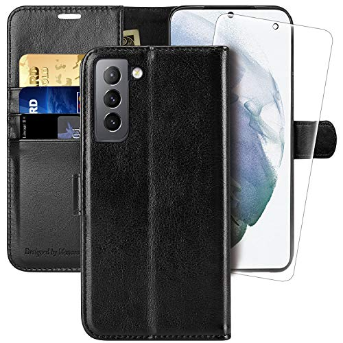 Galaxy S21 Wallet Case,6.2 inch,MONASAY [Included Screen Protector] Flip Folio Leather Cell Phone Cover with Credit Card Holder for Samsung Galaxy S21 5G
