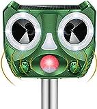 BeauFlw Ahuyentador de animales por ultrasonido, con funcionamiento solar y flash contra gatos, perros, martas, animales, martas, pájaros, etc.