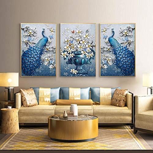 JinYiGlobal Drucke auf Leinwand Blue Peacock Orchid Flower Butterflies Poster Malstil Wandkunst Bild für Wohnzimmer 30x45cmx3Pcs Kein Rahmen