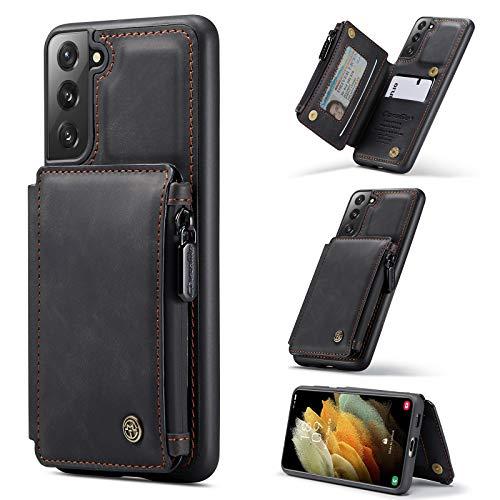 Case Cover, Caso per custodia per portafoglio Samsung Galaxy S21 con supporto per schede, Slot per schede in cuoio PU Premium PU con custodia a doppia chiusura magnetica e funzione antigelo RFID