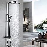 DUTRIX Duschsystem mit Thermostat,Schwarz Dusch set,Handbrause Duschsysteme Duschset Brausen und Duschsystemen schafft mit 20x25cm eckig Kopfbrause,Druck Handbrause, Schwarz