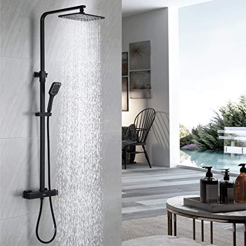 DUTRIX Dushsystem with Thermostatic Duscharmatur Regendusche mit Eckige Kopfbrause Edelstahl Schwarz Dusch Set, Duschsäule mit Höhenverstellbare für Dusche Badzimmer