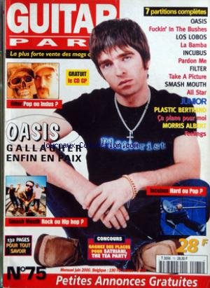 GUITAR PART [No 75] du 01/06/2000 - 7 PARTITIONS COMPLETES - OASIS - LOS LOBOS - INCUBUS - FILTER - SMASH MOUTH - PLASTIC BERTRAND - MORRIS ALBERT - OASIS