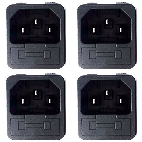 CESS Snap In AC Power Inlet with Fuse Holder - AC Black Socket (jcx) (4 PACK)