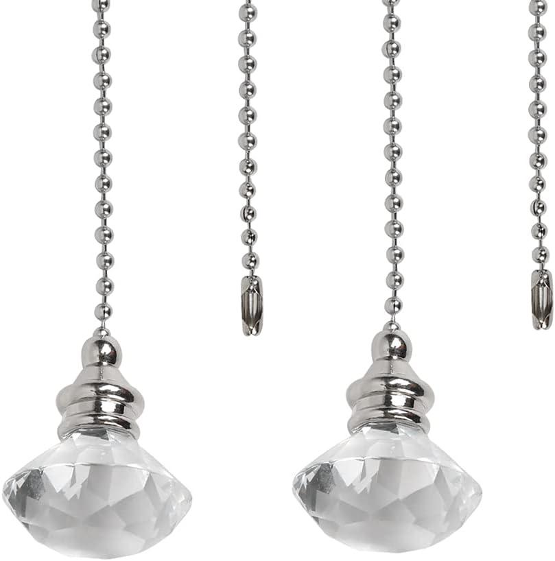 2 cadenas de luz de cristal, extensión de cadena de diamante acrílico con conector para lámpara de techo, ventilador de baño, lámpara de baño, 1 metro de longitud