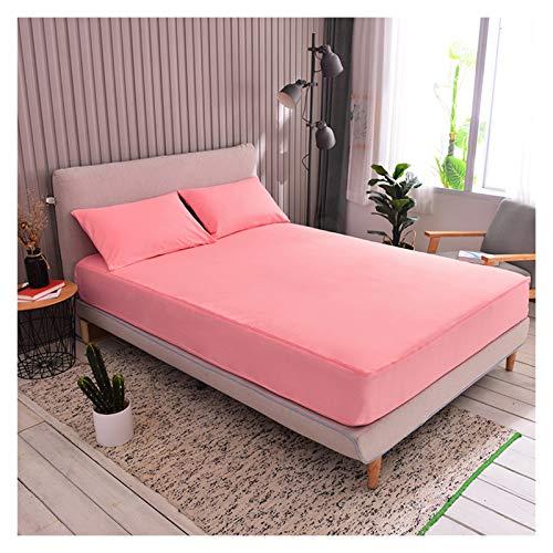 QIANGU Funda de cama ajustable, fácil de quitar, antideslizante, transpirable, con cremallera de seis lados, protector de colchón con cierre cómodo, cepillado (color: rosa, tamaño: 200 x 220 + 25 cm)