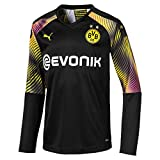 PUMA Jungen BVB LS GK Shirt Replica Jr with Evonik without OPEL Torwarttrikot, Schwarz, 128