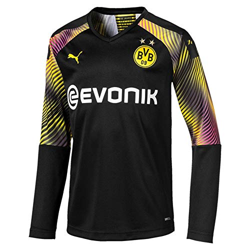 PUMA Jungen BVB LS GK Shirt Replica Jr with Evonik without OPEL Torwarttrikot, Schwarz, 176