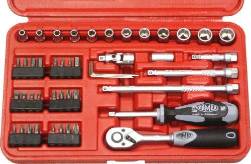 Famex 590-20 Mechaniker Steckschlüsselsatz mit Feinzahnknarre,  6,3mm (1/4-Zoll)-Antrieb,  4-13mm, 47-teilig