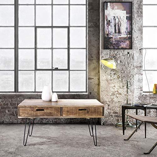 WOMO-DESIGN Couchtisch 100cm, Natur, Unikat, handgefertigt aus Massivholz Mangoholz, mit 2 Schubladen und schwarzen Metall Hairpin Legs, Retro-Look, Wohnzimmertisch Sofatisch Beistelltisch Holztisch
