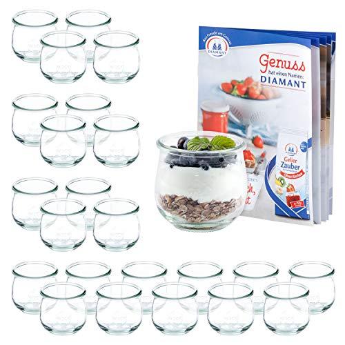 MamboCat set van 24 weckflesjes 370 ml + receptenboekje | jamppotten helder | Ø 9 cm | levensmiddelen inkoken, bewaren en bewaren | weck-accessoires