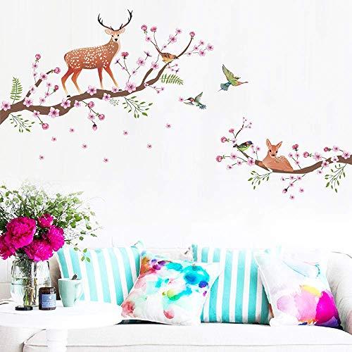 Vinilo adhesivo Sika flores de ciervo pájaros extraíble decoración del hogar pegatinas de pared rojo elegante y popular