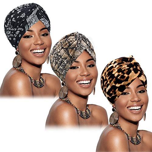 SATINIOR 3 Stück Turban für Frauen Baumwolle Soft Turban Gemusterte Mütze Plissee Kopfwickel Kappe Haarausfall Hut