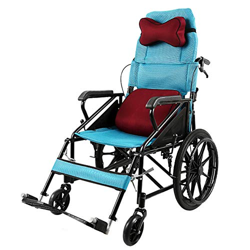 ACEDA Transport Wheelchair With Lightweight Thick Steel Frame,Folding Chair Is Portable,Front And Rear Brake,With Detachable Backrest And Headrest,Seat Width 46Cm,Blue
