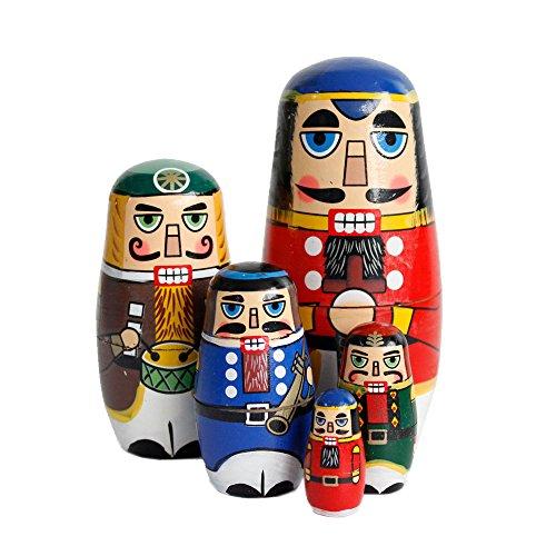 OJIN 5 unids Lindo Hecho a Mano de la Navidad Rusa muñeca de la jerarquización Juegos auténticos de Madera Que apilan la decoración de la colección de muñecas (Walnut Soldier)