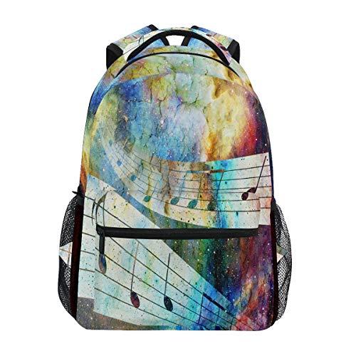 QMIN Sac à dos abstrait Galaxy Notes de musique School Bookbag Voyage College Daypack Sac à dos pour ordinateur portable Randonnée Camping Sac à bandoulière Organisateur pour garçons filles et femmes